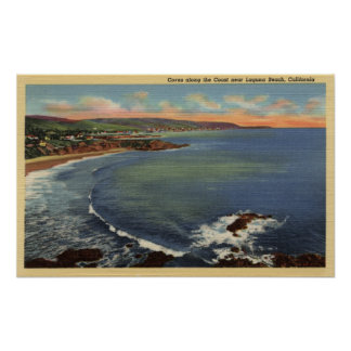 Aerial of the Coves Along the Coast Poster