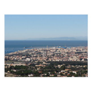Aerial panorama of Livorno city Tuscany Italy Postcard