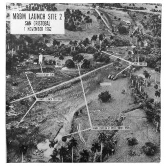 Aerial Photograph of Missiles in Cuba 1962 Napkin