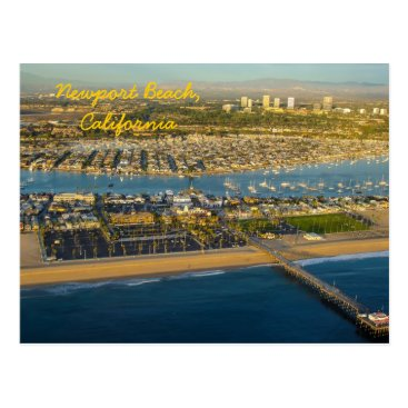 Beach Themed Aerial Photograph of Newport Beach California Postcard