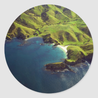 Aerial Photograph of Northland, New Zealand Classic Round Sticker