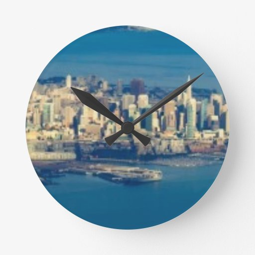 Aerial photograph of the San Francisco Bay Round Wall Clocks