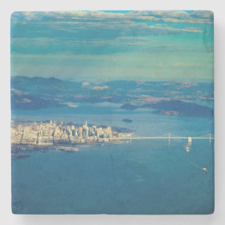 Aerial photograph of the San Francisco Bay Stone Beverage Coaster