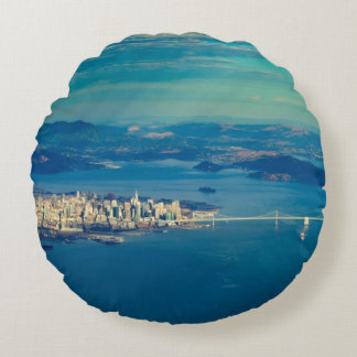 Aerial photograph of the San Francisco Bay Round Pillow