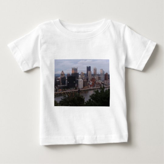 Aerial Pittsburgh Skyline at sunset Baby T-Shirt
