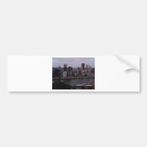 Aerial Pittsburgh Skyline at sunset Car Bumper Sticker