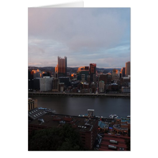 Aerial Pittsburgh Skyline at sunset Card