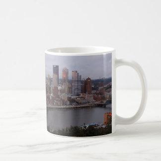 Aerial Pittsburgh Skyline at Sunset Coffee Mug