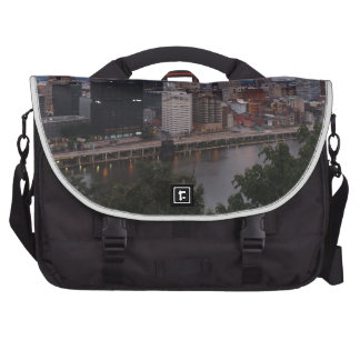 Aerial Pittsburgh Skyline at sunset Commuter Bags