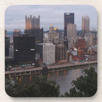 Aerial Pittsburgh Skyline at sunset Drink Coaster