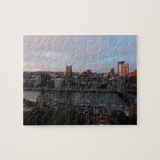 Aerial Pittsburgh Skyline at sunset Jigsaw Puzzle