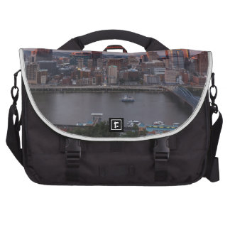 Aerial Pittsburgh Skyline at sunset Laptop Bag