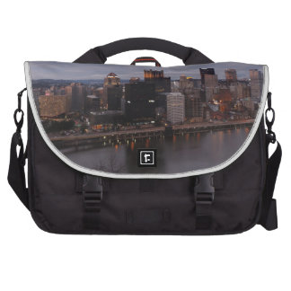 Aerial Pittsburgh Skyline at sunset Bags For Laptop