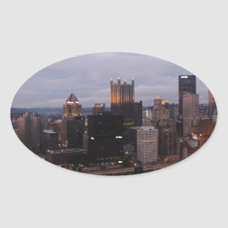 Aerial Pittsburgh Skyline at sunset Oval Sticker