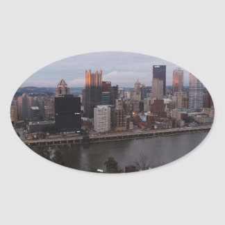 Aerial Pittsburgh Skyline at Sunset Oval Stickers
