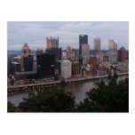 Aerial Pittsburgh Skyline at sunset Post Card