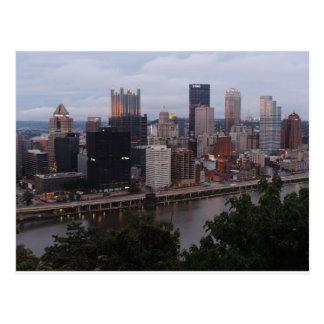 Aerial Pittsburgh Skyline at sunset Postcard
