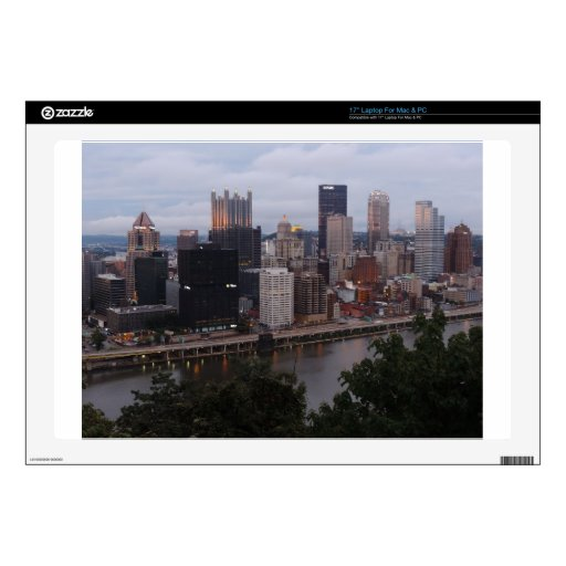 Aerial Pittsburgh Skyline at sunset Skin For Laptop