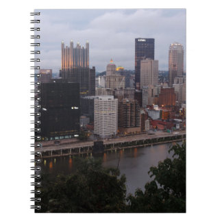 Aerial Pittsburgh Skyline at sunset Spiral Notebook