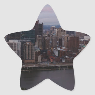 Aerial Pittsburgh Skyline at sunset Star Sticker