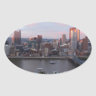 Aerial Pittsburgh Skyline at sunset Stickers