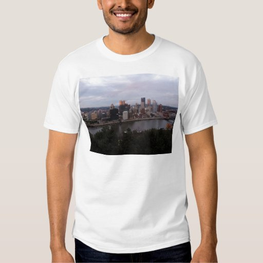 Aerial Pittsburgh Skyline at Sunset T Shirt