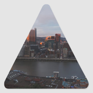 Aerial Pittsburgh Skyline at sunset Triangle Sticker