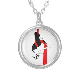 Aerial Silks Dancer Gemini Pose Silver Plated Necklace