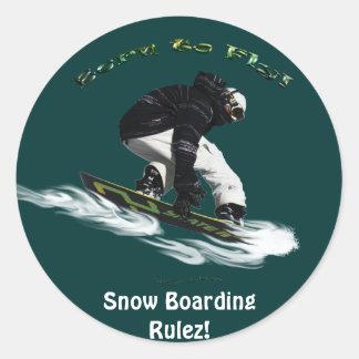AERIAL SNOW BOARDER Series Round Stickers