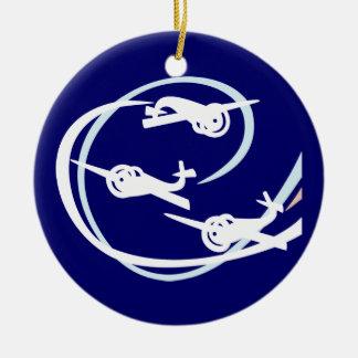 Aerial stunt planes ceramic ornament