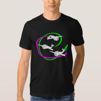 Aerial stunt planes with vivid vapor trails t-shirt