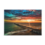 Aerial sunset at the Oceanside Pier Canvas Print