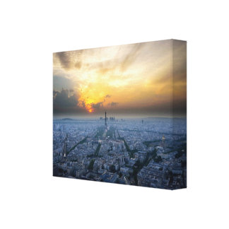 Aerial sunset of the Eiffel Tower, Paris, France… Canvas Print