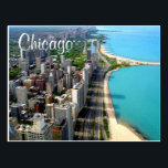 "Aerial View Chicago Illinois Travel Post Card<br><div class=""desc"">Welcome to Chicago! This fun post card features an Aerial view of Chicago Illinois and it&#39;s beautiful beach coastline. Chicago is nicknamed the &quot;windy city&quot; and is the third largest city in the United States. Travel Postcards are an economical alternative to greeting cards and can be used for many occasions...</div>"