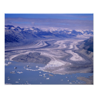 Aerial view Lowell Glacier, Kluane National Posters