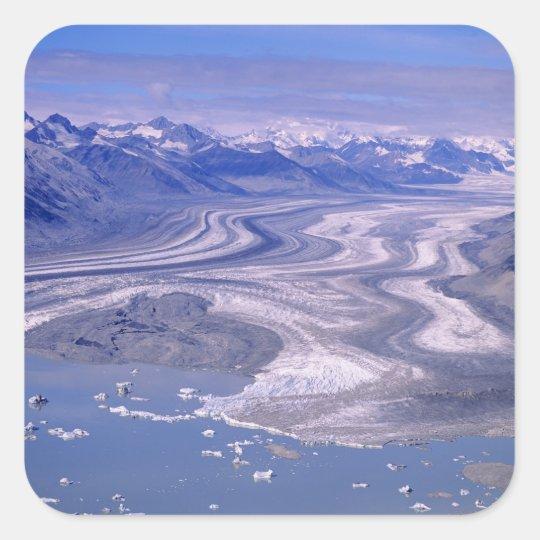 Aerial view Lowell Glacier, Kluane National Square Sticker