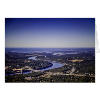 Aerial View of 3 Bridges Spanning Cape Cod Canal Greeting Cards