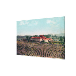 Aerial View of a California Vineyard and Winery Stretched Canvas Prints