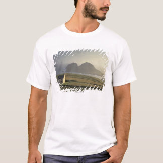 aerial view of a cottage on a hill by the sea T-Shirt