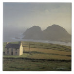 aerial view of a cottage on a hill by the sea large square tile