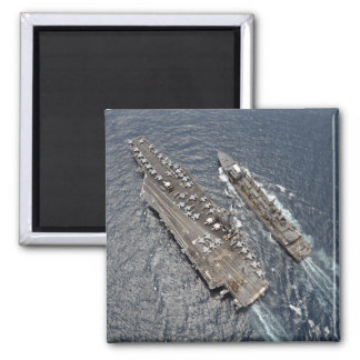 Aerial view of aircraft carrier USS Ronald Reag 2 Inch Square Magnet