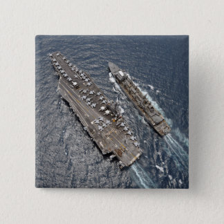Aerial view of aircraft carrier USS Ronald Reag Button