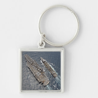 Aerial view of aircraft carrier USS Ronald Reag Keychain
