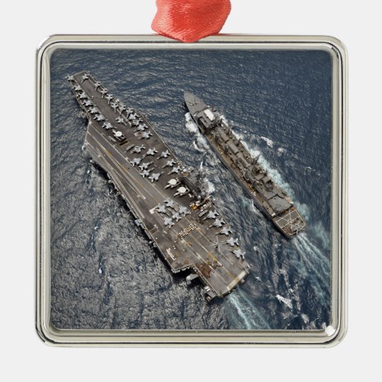 Aerial view of aircraft carrier USS Ronald Reag Metal Ornament