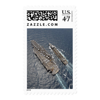 Aerial view of aircraft carrier USS Ronald Reag Postage Stamp