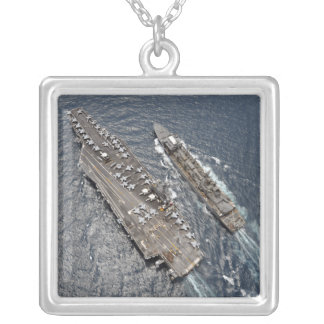Aerial view of aircraft carrier USS Ronald Reag Square Pendant Necklace