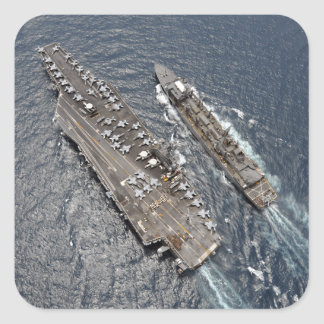Aerial view of aircraft carrier USS Ronald Reag Square Sticker