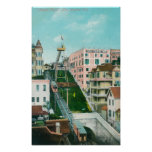 Aerial View of Angels Flight Trolley Posters