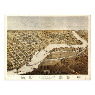 Aerial View of Appleton, Wisconsin (1867) Postcard