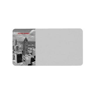 Aerial View of Atlanta, Georgia in black and white Label